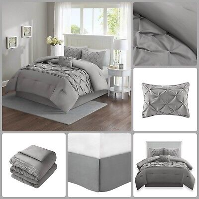 Full Bed Bag Sets (Comforter Set Full Queen Bed In A Bag Tufted Pattern Bedding Grey 5 Piece)