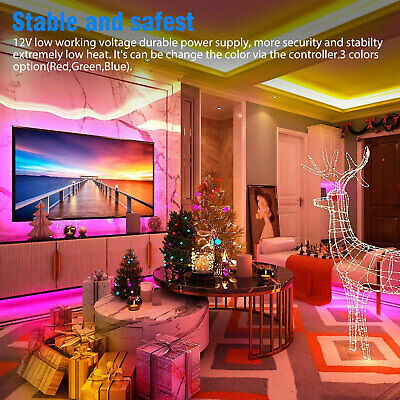 32FT Flexible 3528 RGB LED SMD Strip Light Remote Fairy Lights Room TV Party Bar 2