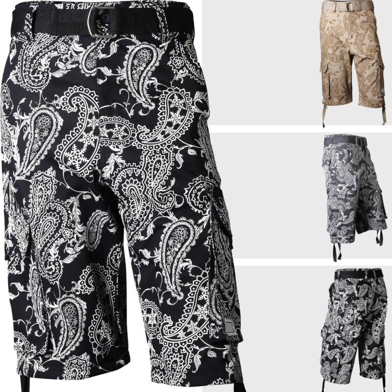 Mens Twill Cargo Shorts Paisley Pants Casual Multi Pockets Belt Cotton
