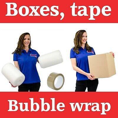 15 Medium Cardboard Packing Moving Boxes, 1 Strong Tape & 10 Meter Bubble Wrap