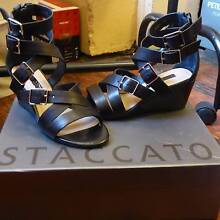 PETITE SIZE 33!! Black Silver Buckle Sandals from Staccato Pyrmont Inner Sydney Preview