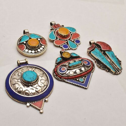 Tibetan Turquoise Gemstone Handmade 5 pcs Wholesale Lot Pendant Jewelry Lot-844