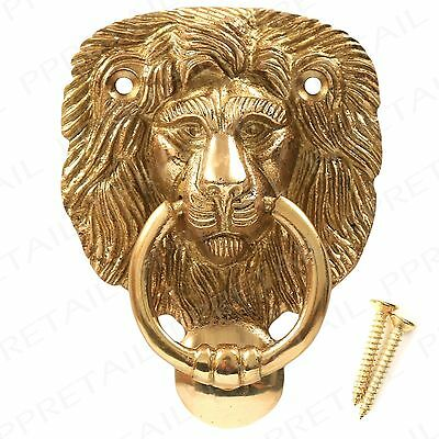 Polished Solid Brass Lion Head Door Knocker+Screws Traditional Classic Victorian