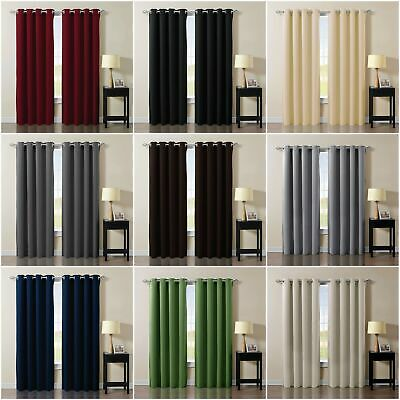 Chezmoi Collection Thermal Insulated Blackout Grommet Window Curtain Set-2 Panel Panel Thermal Insulated Polyester Curtains