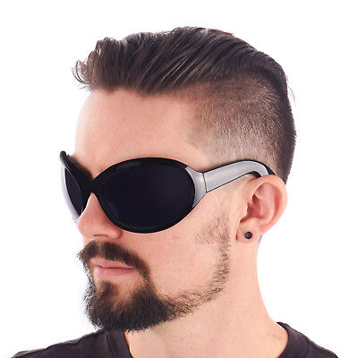 BIG Gothic GOTH INDUSTRIAL Bugeye Bug Eye Bono WRAP Sunglasses Black](Bug Eye Sunglasses)