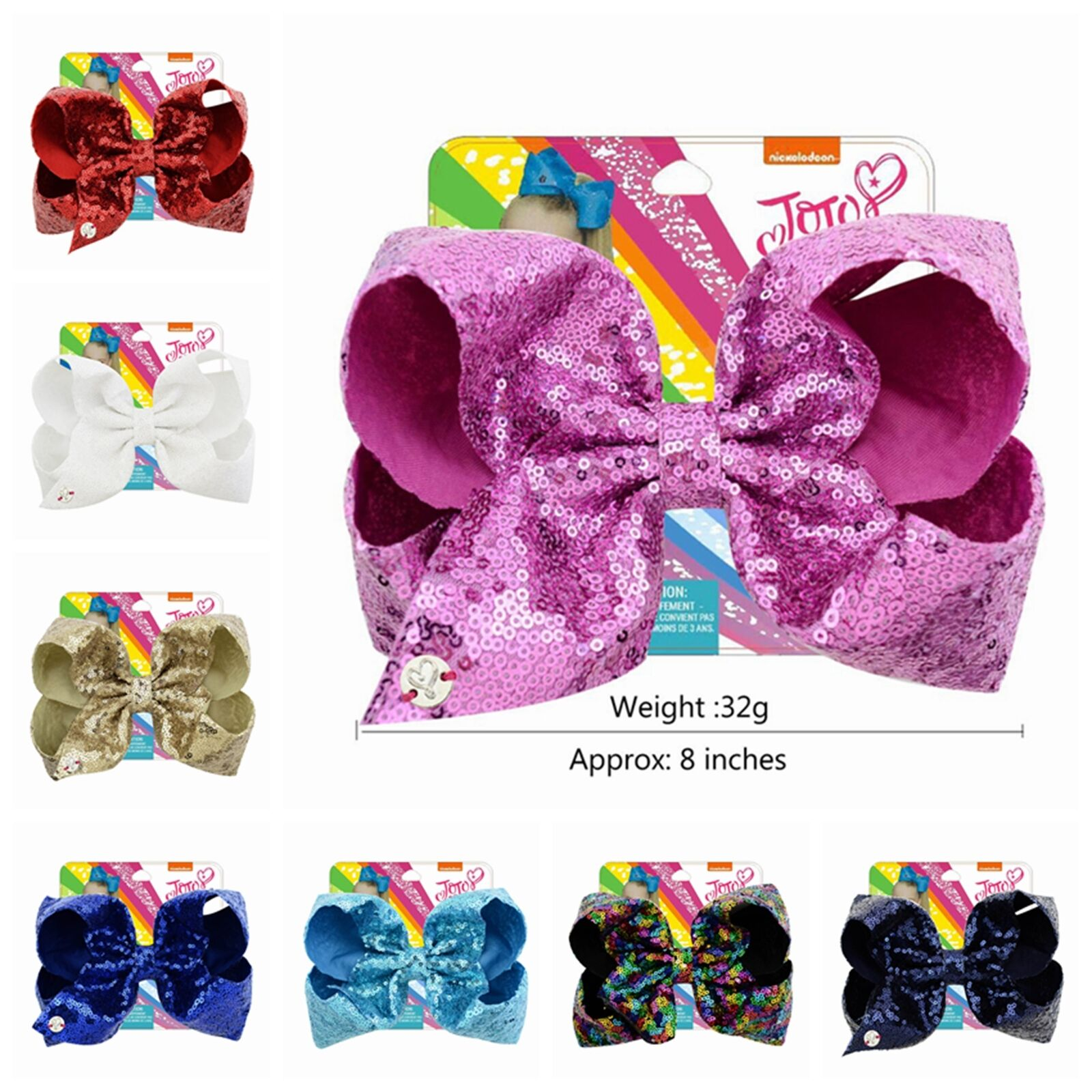 "8/"" JoJo Siwa Lg Girls Teens Sequin Hair Bows~Alligator Clip~Choose from 8 Colors"