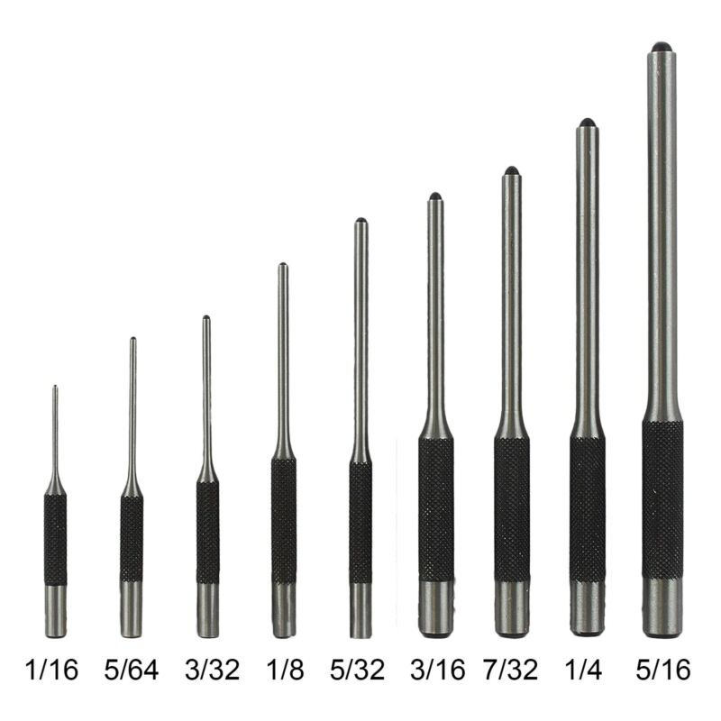 9 Pc Hand Roll Pin Punch Set 1/16, 5/64, 3/32, 1/8, 5/32, 3/16, 7/32, 1/4, 5/16