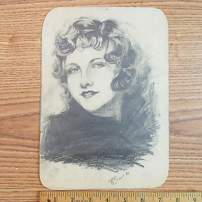 OLD PENCIL DRAWING OF A PRETTY WOMAN (Pretty Pencils)