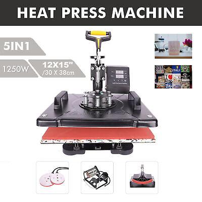 5 In 1 Transfer Heat Press Digital Sublimation Machine 12x15 Cap Hat T-shirt