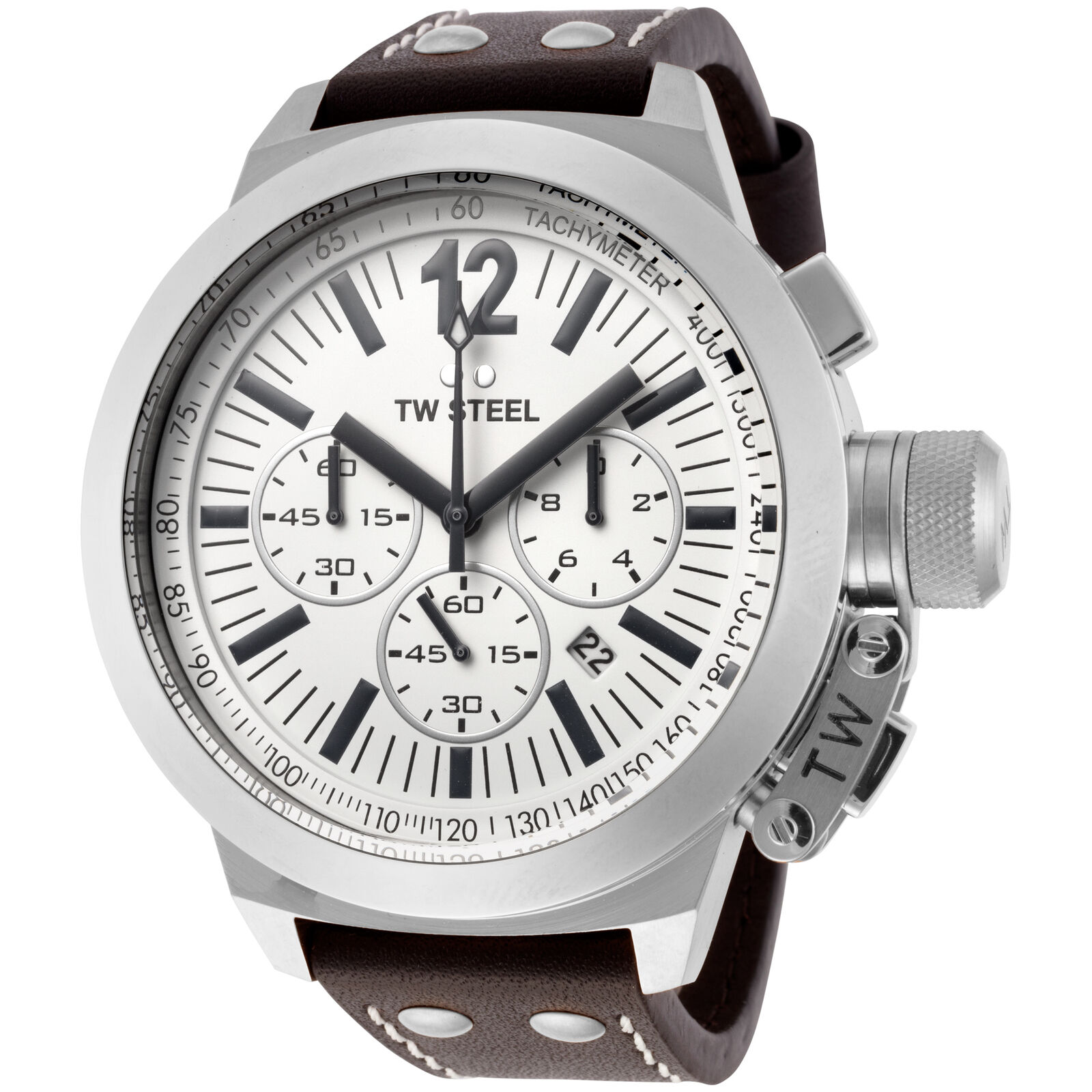 c5f3c5e047e Details about TW Steel CE1008 Men s Canteen Chronograph 50mm White Dial  Leather Watch
