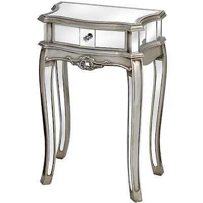 Luxus Konsole verspiegelt Lampentisch Silber Beistelltisch Kommode Nachttisch