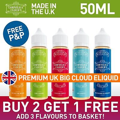 50ml E LIQUID NO NICOTINE 0mg Vape Juice - CORNELIUS CLOUDS MAX VG 80/20 ELIQUID