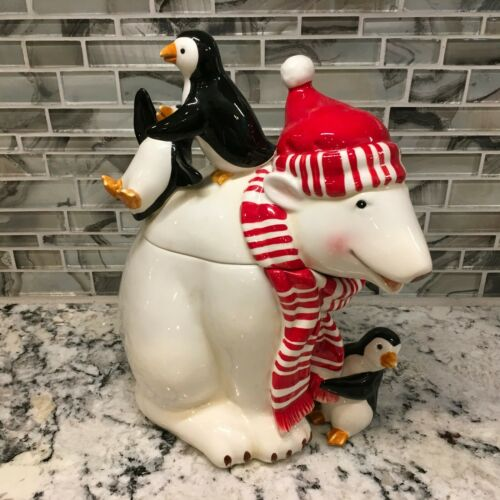 Harry & David Collectible Christmas Polar Bear Express Cookie Jar