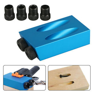 15° Angle Adapter Drill Guide Woodworking Adapter Pocket Hole Jig Kit 6/8/10mm