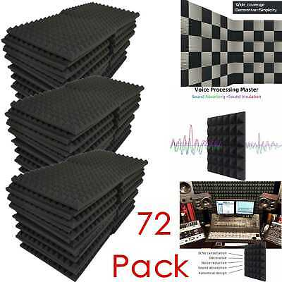 """72 Pack Acoustic Foam Panels Soundproofing Studio Pyramid Wall Tiles 1""""X12""""X12"""""""