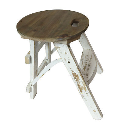 Rustic White Washed Classic Shabby Chic Wooden Vintage Furniture Stool Foldable