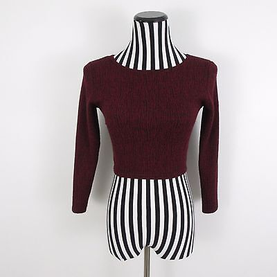 Sparkle & Fade Red Long Sleeve Crop Top Size 8