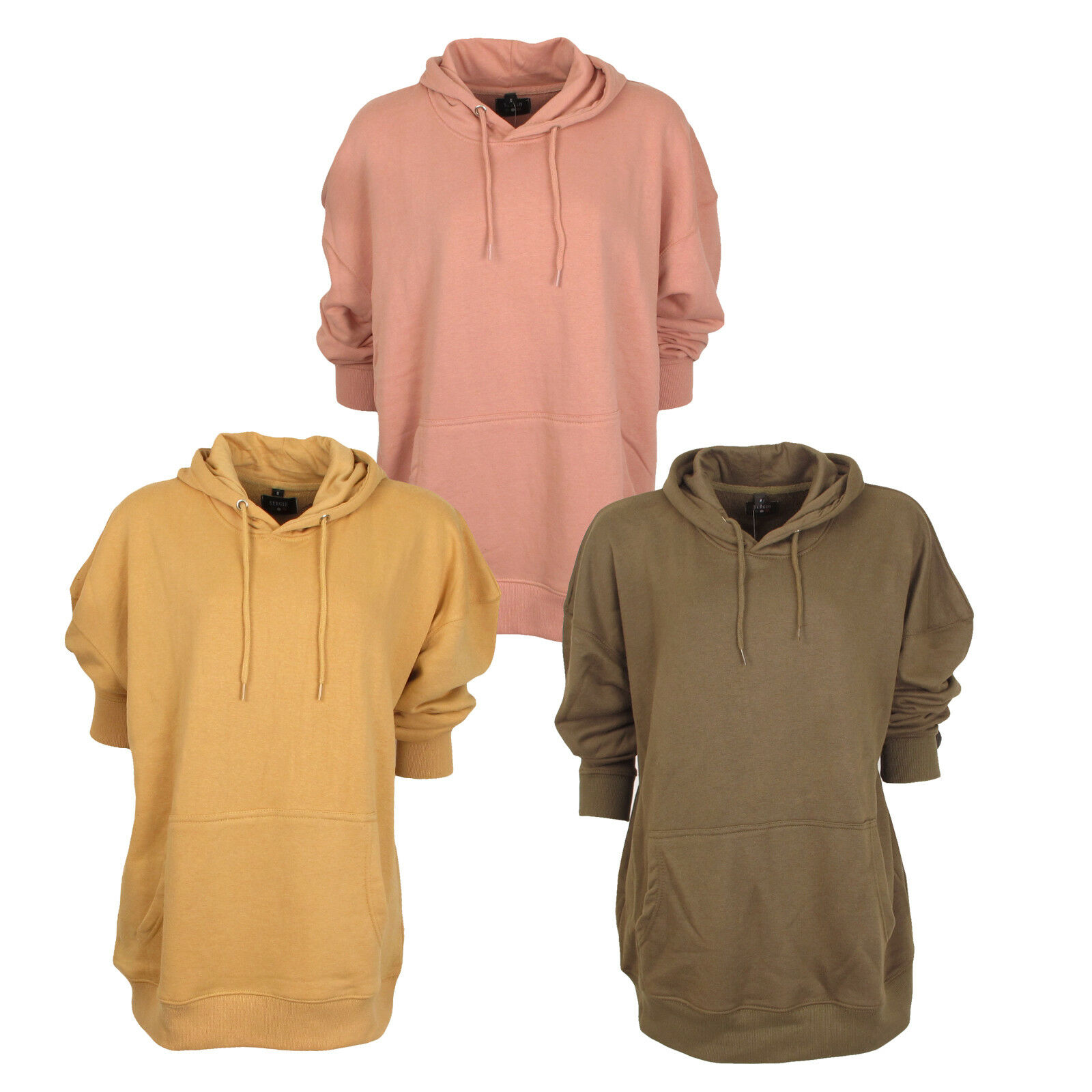 WOMENS BAGGY TOP LADIES GIRLS OVERSIZED LONGLINE HOODED SWEA