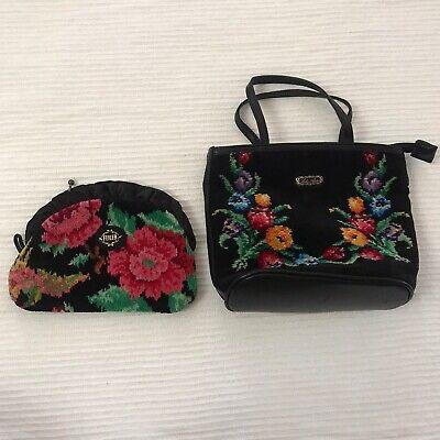 FEILER Pouch wallet Lake Alster Bag Embroidered Floral Purse handbag Vintage Set