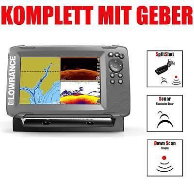 Lowrance Kartenplotter Echolot mit Geber Hook2 7 SplitShot HDI CHIRP Combo GPS Lowrance-karten