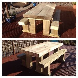 UNSANDED Solid Wooden Sleeper Outside Table And Benches /Garden Furniture