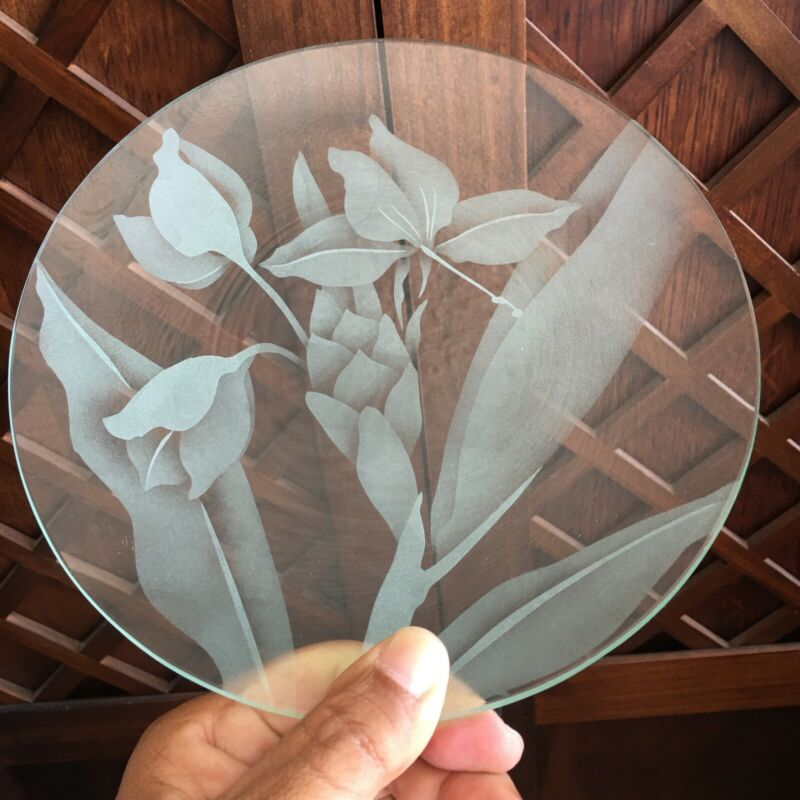 """Etched Glass Plate By Frank Oda Floral Ginger & Orchid  8"""" Shipped From Hawaii"""