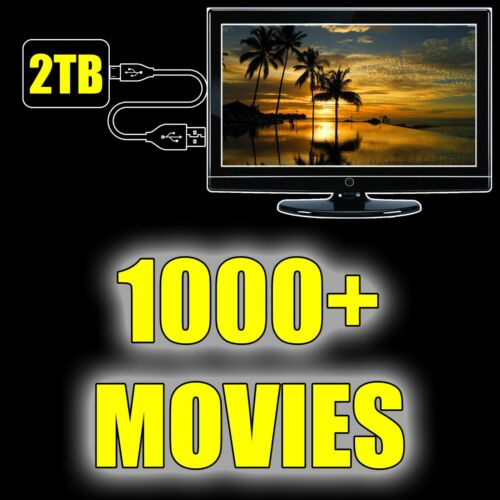 2TB Portable Hard Drive with Over 1,000 Movies Included! Just Plug & Play!!!