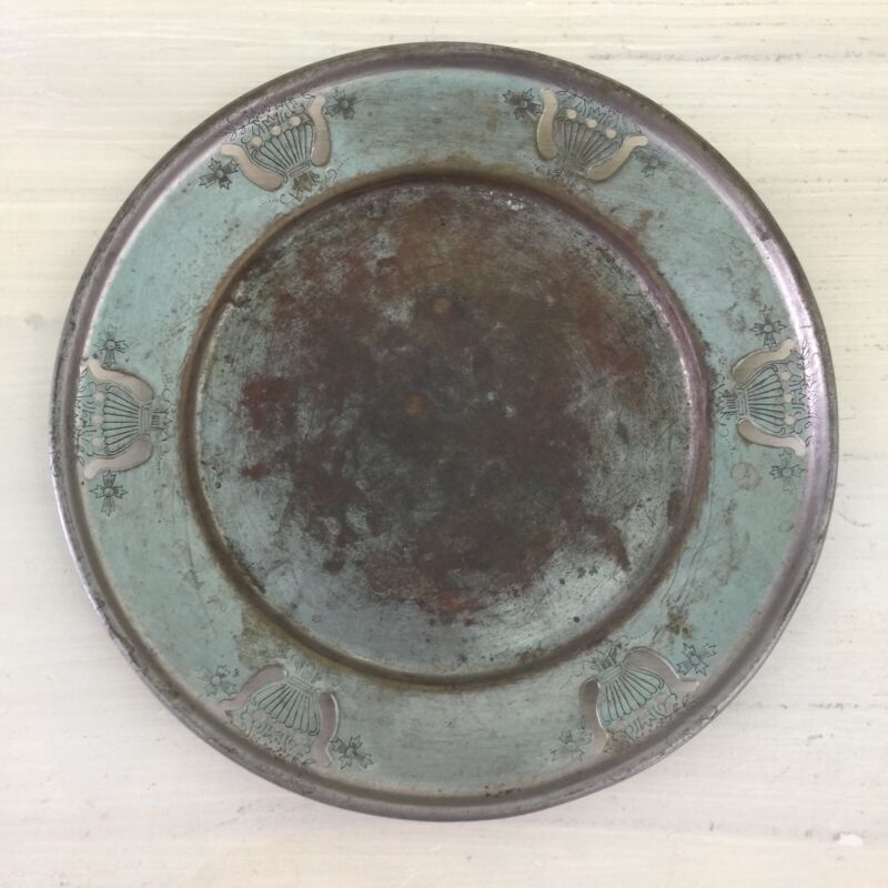 FARBER KRAFT SHEFFIELD PLATED - Vtg Antique New York Silver Metal Dish Plate