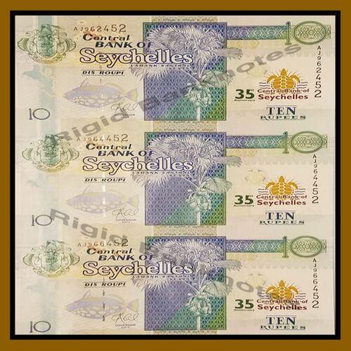 Seychelles 10 Rupees, 2013 Commemorative Uncut sheet 35th Anniversary Unc