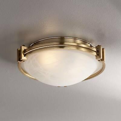 Mount 3 Light Fixture (Art Deco Ceiling Light Flush Mount Fixture Brass 12 3/4