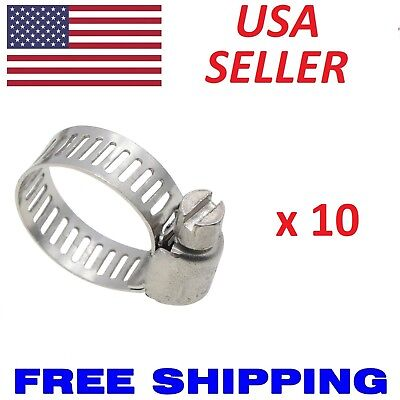 10pcs Stainless Steel Metal Hose Clamps Adjustable Band Fit all 14 58 34
