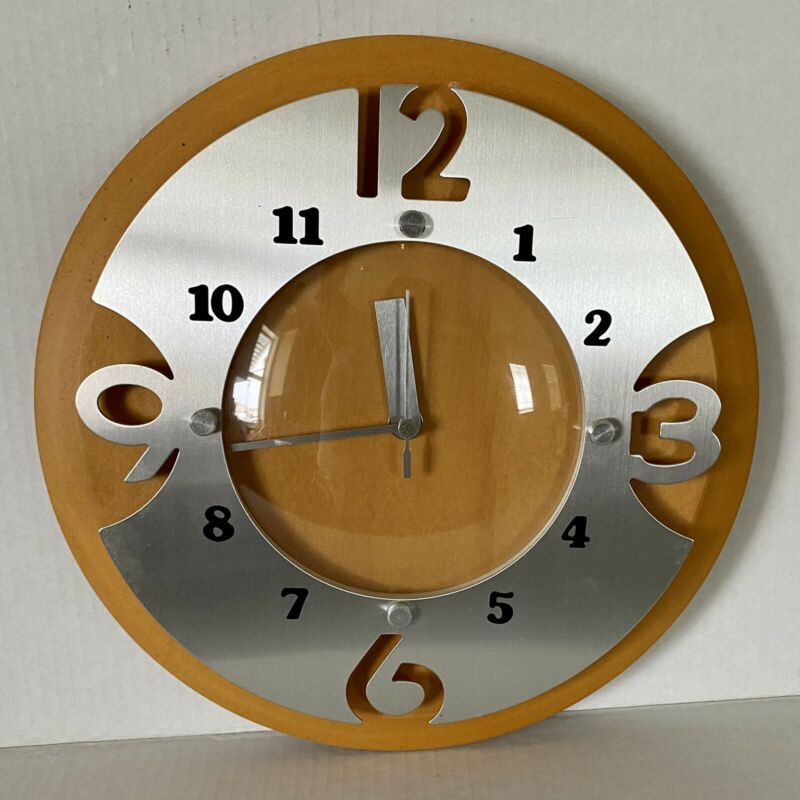 Kirch Wall Clock 1646 Modern MCM Retro Style Aluminum Cutout Wood Vintage Taiwan