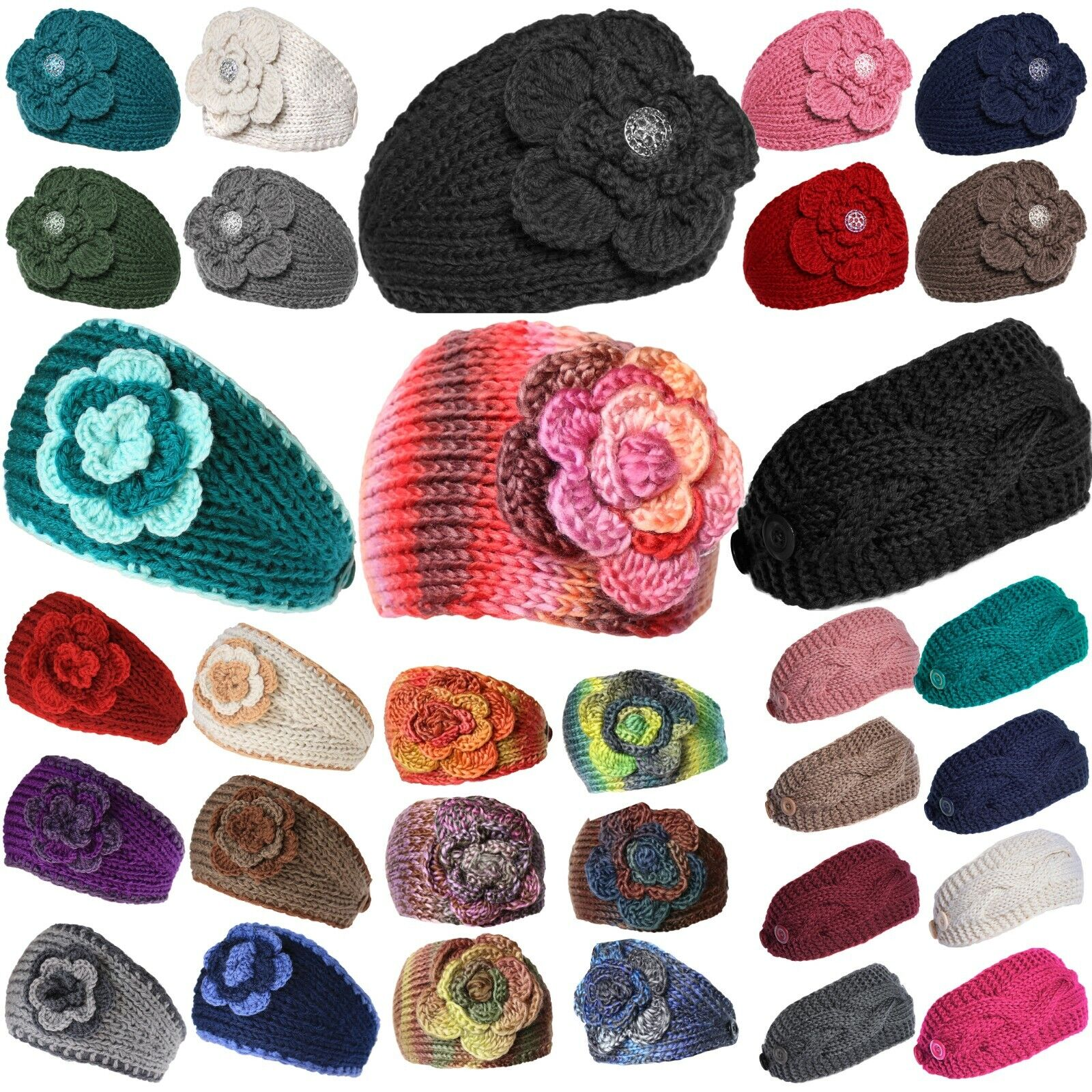Headband Flowers Winter Knit Warmer Head Wrap Clothing, Shoes & Accessories