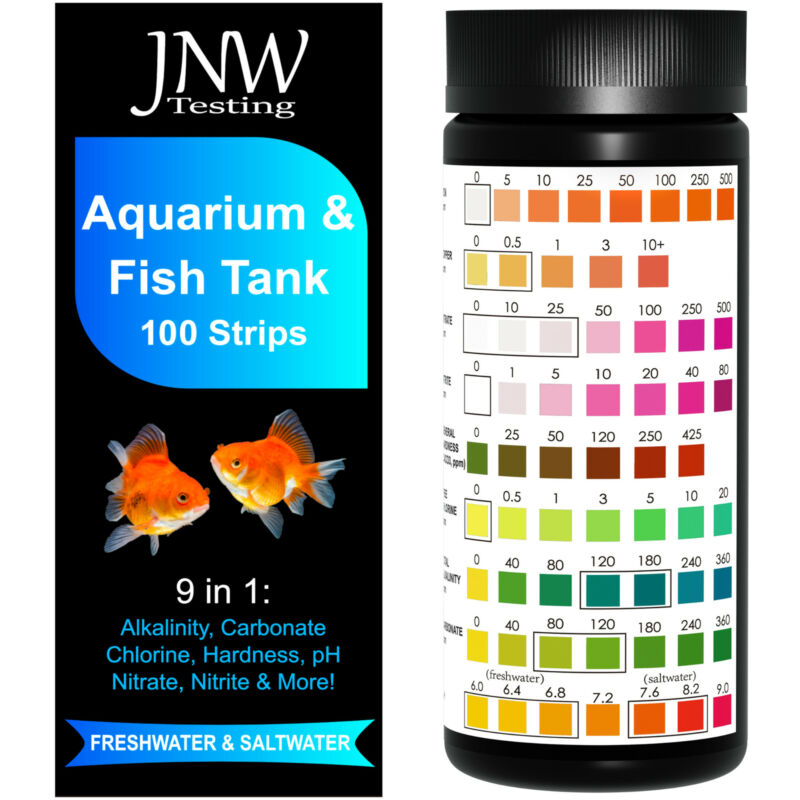Aquarium Test Strips 9 in 1 - 100 Count, Accurate Freshwater & Saltwater Testing