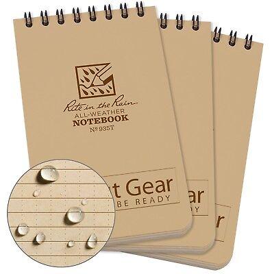 Three 3x Rite-in-the-rain 3x5 All-weather Top-spiral Notebook Tan 935t