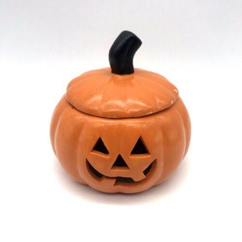 "VTG Hand Painted Cheerful Ceramic 3 1/2"" Pumpkin w/Lid Jack-O-Lantern Halloween"