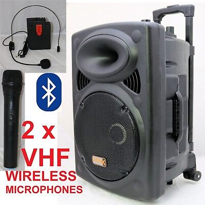 "Mak 600w 12"" Portable PA Active Speaker System 2 Wireless Mic Bluetooth USB"