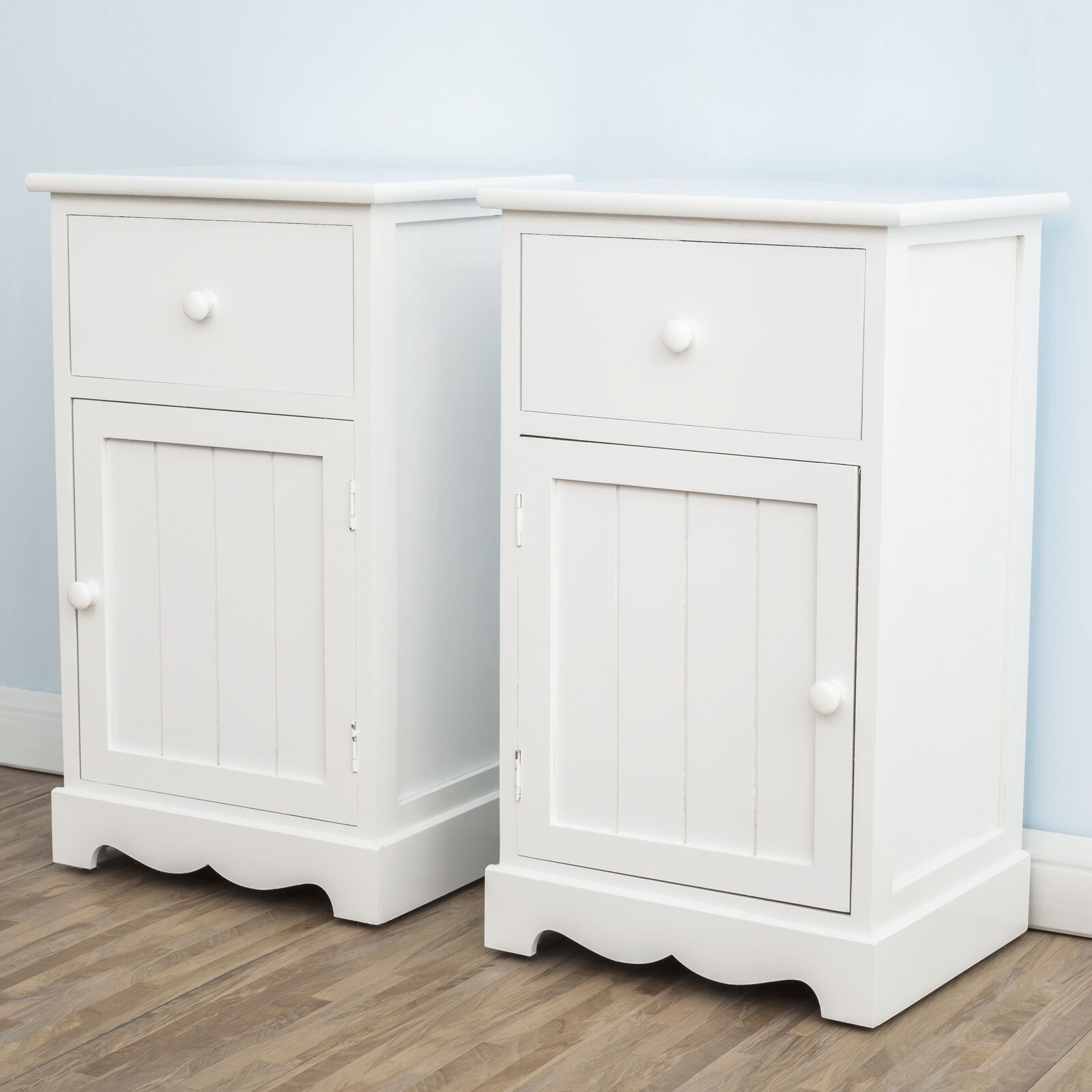 Pair of white groove door bedside tables drawers storage - Bedroom storage cabinets with drawers ...