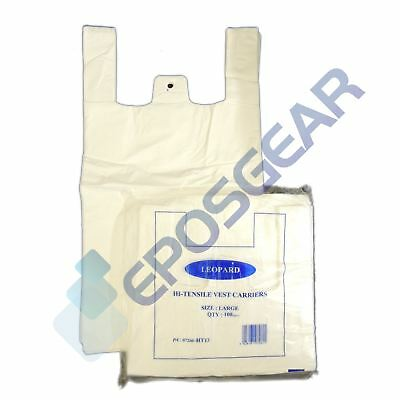 500 Cheap Large Plain White Vest Style Shopping Plastic Carrier Bags 11x17x21