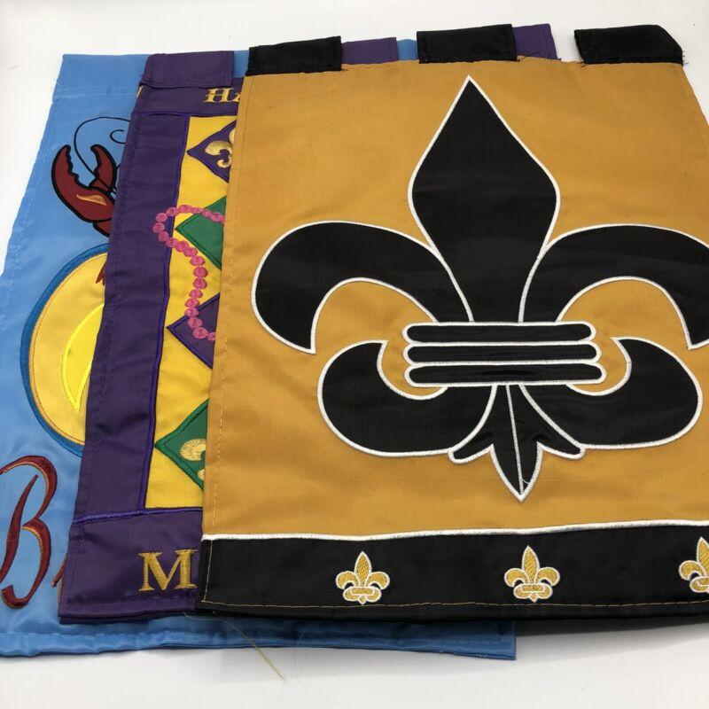 3 New Orleans Yard Flags Mardi Gras Saints High Quality