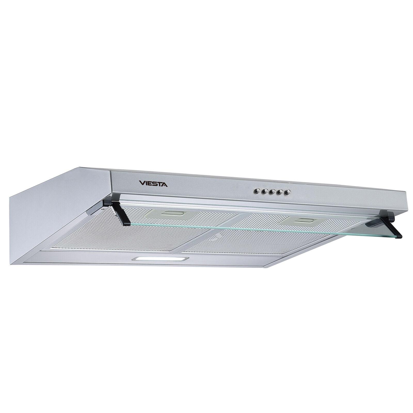 VIESTA Unterbauhaube Dunstabzugshaube 60cm & LED, Abluft & Umluft, Edelstahl