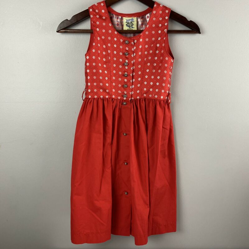 Isar Trachten Max Federer GmbH German Girls Traditional Dress Red Sz Sm