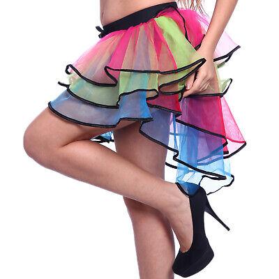 Rainbow Neon Burlesque RaRa Rave Ruffle Tutu Skirt Clubwear Dancewear - Neon Tutu