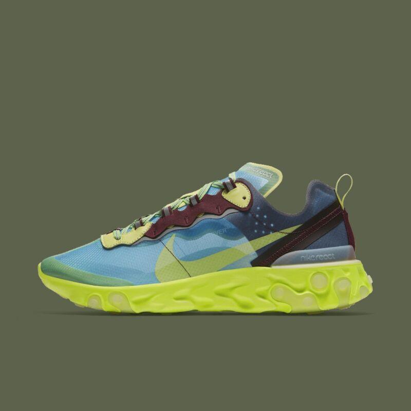 52f67b6d60b0 Nike React Element 87 Undercover Lakeside Electric Yellow Men Running BQ2718 -400