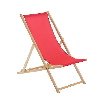 Wooden Deck Chair Folding Garden Beach Seaside Patio BBQ Deckchair Pink x1