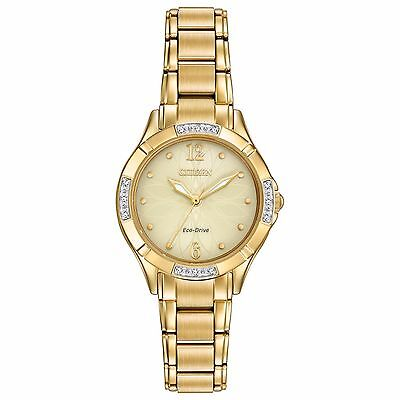 Citizen Eco-Drive Women's EM0452-58P Diamond-Set Bezel Yellow Gold Dress Watch