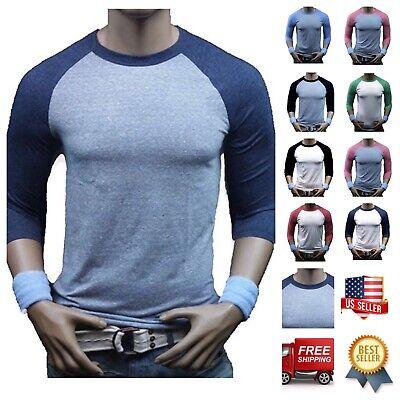 (Men 3/4 Sleeve Baseball T-Shirt Tri- Blend Casual Slim Fit Crew Neck Hipster Gym)