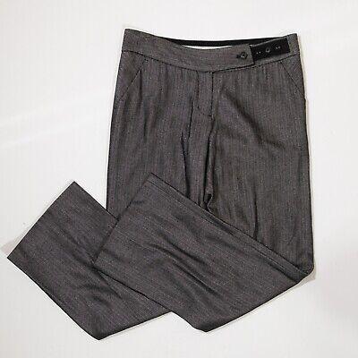 Tom K Nguyen x Anthropologie Gray Herringbone Knit Wool Stretch Trouser Pants 6
