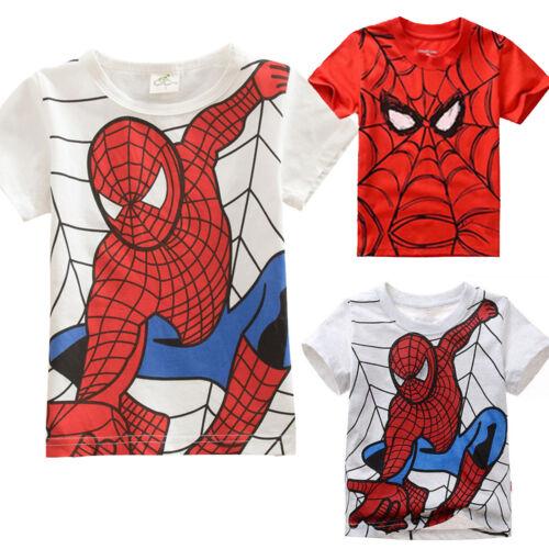 Kinder Jungen Sommer Spiderman Basic T-shirt Kurzarm Freizeit Oberteil Tops Tee