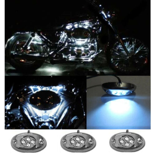 3Pc White LED Chrome Modules Motorcycle Chopper Frame Neon Glow Lights Pods Kit